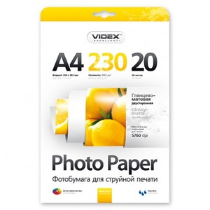 Фотобумага Videx двусторонняя глянцевая/матовая А4 230г/м2 20л