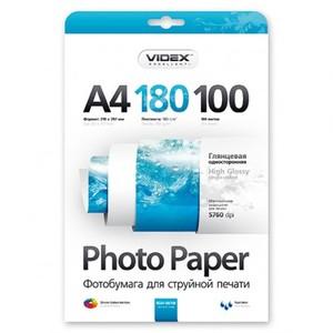 Фотобумага Videx глянцевая А4 180г/м2 100л