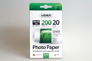 Фотобумага Videx глянцевая А6 200г/м2 20л