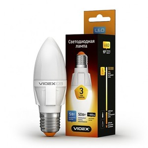 Светодиодная лампа (LED) Videx C37 5W E27 4100K 220V