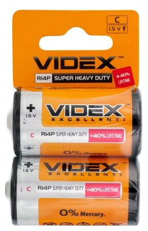 Батарейка солевая Videx R14P/C 2 шт. SHRINK CARD