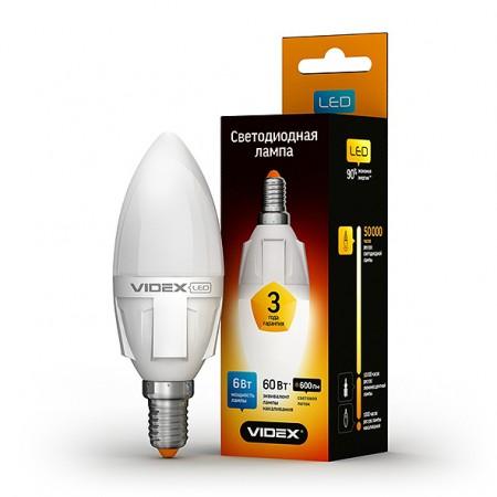 Светодиодная лампа (LED) Videx C37 6W E14 3000K 220V