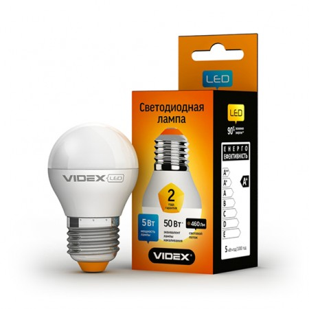 Светодиодная лампа (LED) Videx G45e 5W E27 4100K 220V
