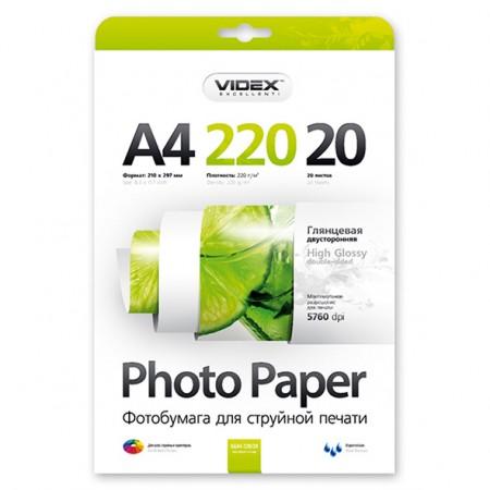 Фотобумага Videx двусторонняя глянцевая А4 220г/м2 20л
