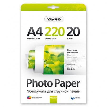 Фотобумага Videx двусторонняя матовая А4 220г/м2 20л