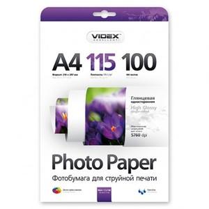 Фотобумага Videx глянцевая А4 115г/м2 100л
