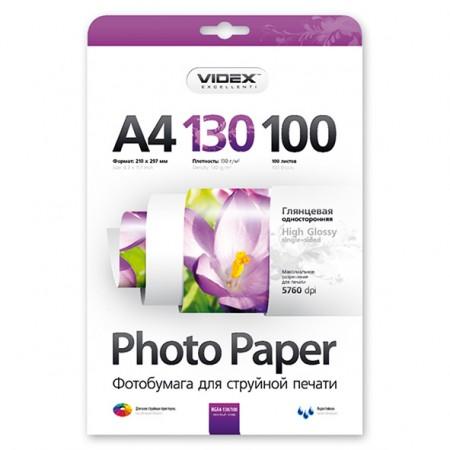 Фотобумага Videx глянцевая А4 130г/м2 100л