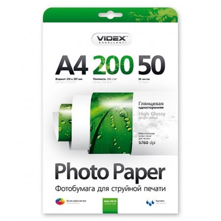 Фотобумага Videx глянцевая А4 200г/м2 50л