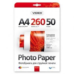 Фотобумага Videx глянцевая А4 260г/м2 50л