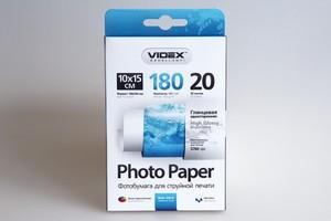 Фотобумага Videx глянцевая А6 180г/м2 20л