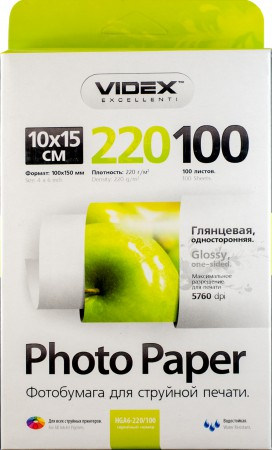 Фотобумага Videx глянцевая А6 220г/м2 100л