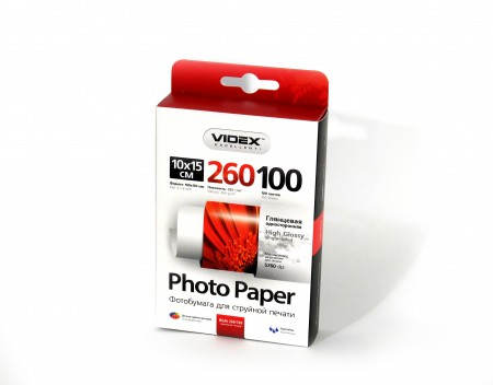 Фотобумага Videx глянцевая А6 260г/м2 100л