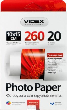Фотобумага Videx глянцевая А6 260г/м2 20л