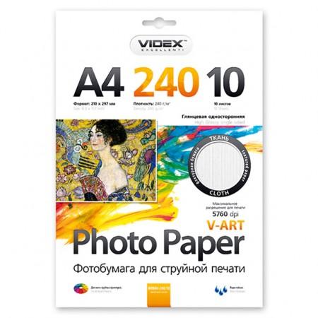Фотобумага Videx глянцевая фактура ткань А4 240г/м2 10л