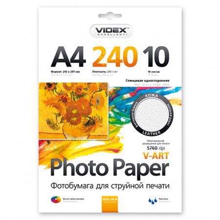 Фотобумага Videx глянцевая фактура кожа А4 240г/м2 10л