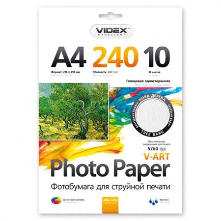 Фотобумага Videx глянцевая фактура кора дерева А4 240г/м2 10л