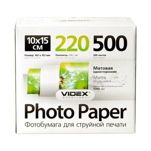 Фотобумага Videx матовая А6 220г/м2 500л