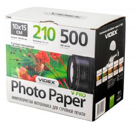 Фотобумага Videx микропористая суперглянцевая A6 210г/м2 500л